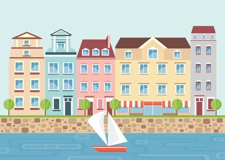 Veelkleurige prachtige residentiële appartementen aan de waterkant. Stad landschap met de rivier, boot, bomen. Objecten geïsoleerd op een witte achtergrond. Flat cartoon vector illustratie.