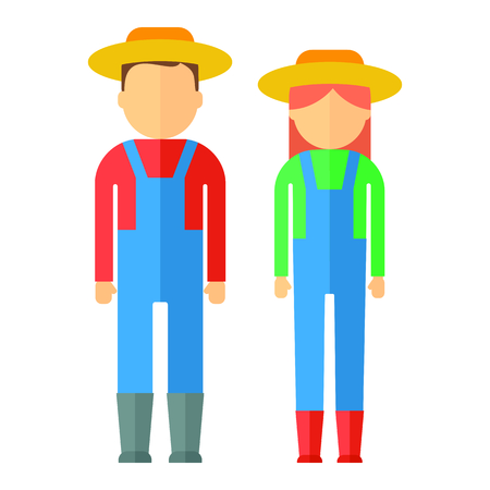 plant stand: Farmers man and woman dressed in boots, hat, overalls, shirts. Objects isolated on background. Flat and cartoon vector illustration.