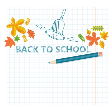 Back To School Banner with lines elements and realistic pencil. Cartoon flat vector illustration. Objects isolated on a white background. Illustration