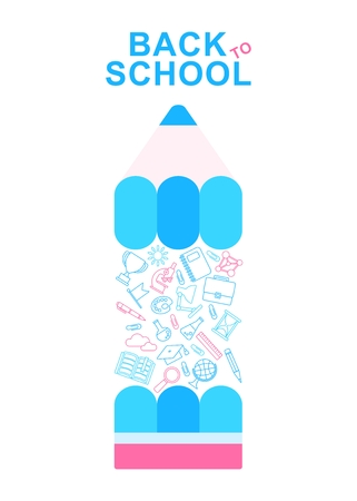 leccion: Back To School Banner with color pensil and school supplies lines icons. Cartoon flat vector illustration. Objects isolated on a white background.