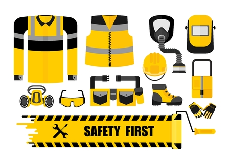 Set of work wear and safety equipment. Uniform, protectiv clothes, tools for worker, builder, constructor on industrial plant. Cartoon flat vector illustration. Objects isolated on a white background. Stock Illustratie