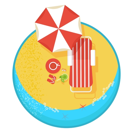 ocean view: Top view sunny sandy beach on the ocean. Poolside image. Template for advertising a summer holiday and resorts in the tropics. Cartoon flat vector illustration. Objects isolated on a white background.
