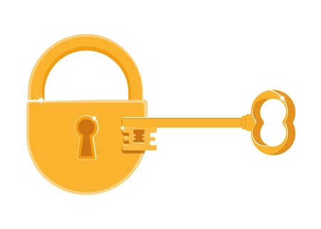 passkey: Gold lock and key. Cartoon flat vector illustration. Objects isolated on a white background.