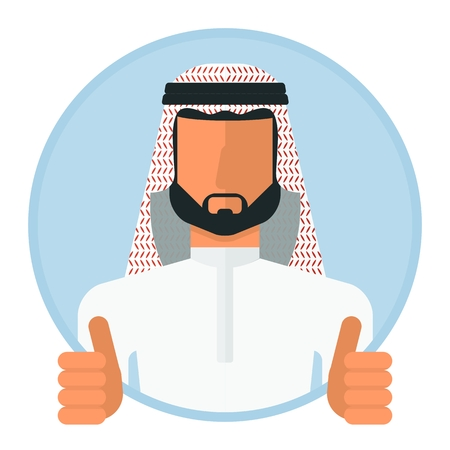 yemen: Arabic muslim man image. Template of portret for infographic posters. Cartoon flat vector illustration. Objects isolated on a white background.