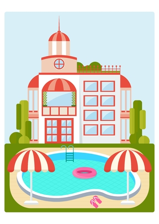 swimming pool home: Clear blue swimming pool near the home. Poolside image. Template for advertising price tags, booklets, leaflets. Summer image. Cartoon flat vector illustration. Objects isolated on a white background. Illustration