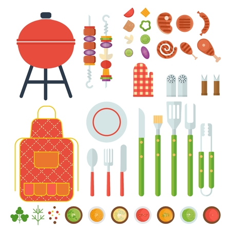 outdoor activities: Set meal cooked on the grill. Tools for grilling. Outdoor activities. Cartoon flat vector illustration. Objects isolated on a white background.