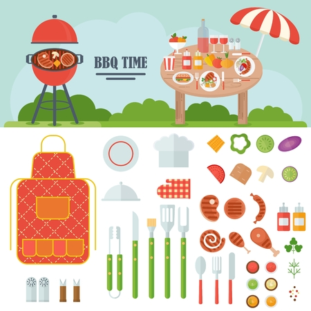 Set meal cooked on the grill. Tools for grilling. Outdoor activities. Cartoon flat vector illustration. Objects isolated on a white background.