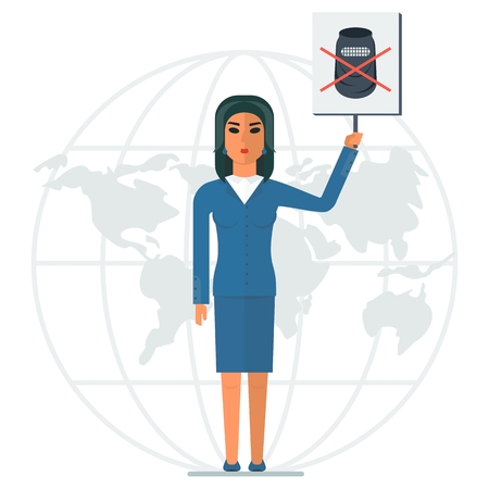 liberation: The modern Arab woman against the traditions of Islam. Business lady protested against wearing the burqa. Arabic people. Cartoon flat vector illustration. Objects isolated on a white background. Illustration