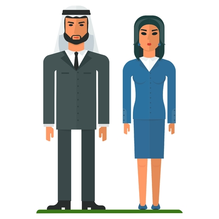burka: Arab modern business people. Cartoon flat vector illustration. Objects isolated on a white background.
