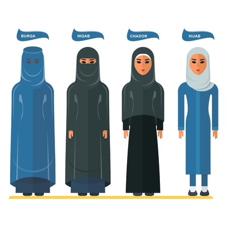 burka: Types of traditional Muslim women clothing. Burqa, niqab, chador, hijab. Arabic people. Cartoon flat vector illustration. Objects isolated on a white background.