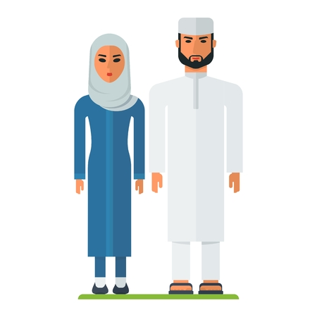 traditions: Young modern Muslim couple. A woman in hijab. The traditions of Islam. Arabic people. Cartoon flat vector illustration. Objects isolated on a white background.