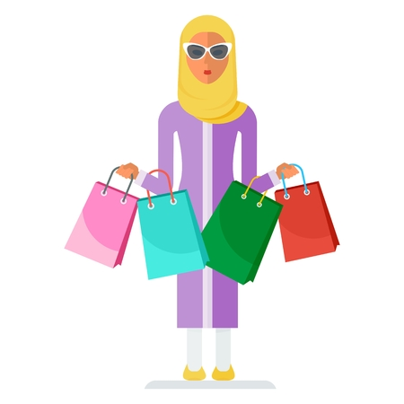 Modern beautiful arabic beautiful woman with shopping bags. Discounts at the mall. Template for advertising, booklets. Cartoon flat vector illustration. Objects isolated on a white background. Vectores