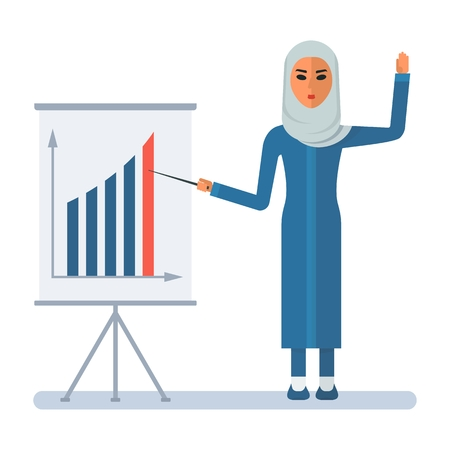 burka: Modern Arab woman, speaking at the presentation. Flip chart with the graph of growth rates. Arabic people. Cartoon flat vector illustration. Objects isolated on a white background.