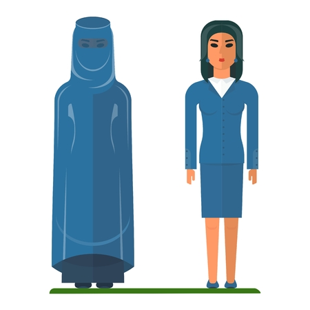 middle eastern families: Arab woman in a modern suit and traditional Islamic clothing. Arabic people. Cartoon flat vector illustration. Objects isolated on a white background.