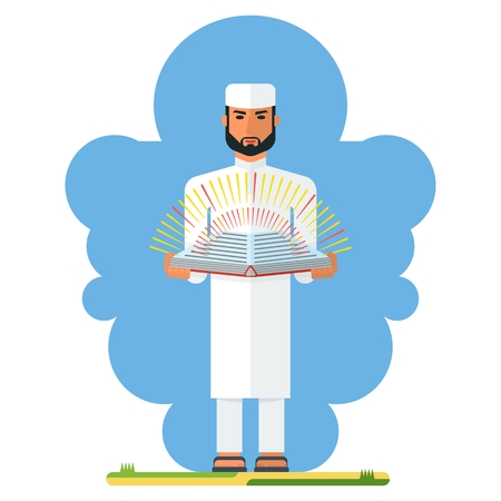 holy book: Arab man holding a holy book in their hands. Arab man holding a holy book in his hands. The teachings of the world religions. Cartoon flat vector illustration. Objects isolated on a white background. Illustration