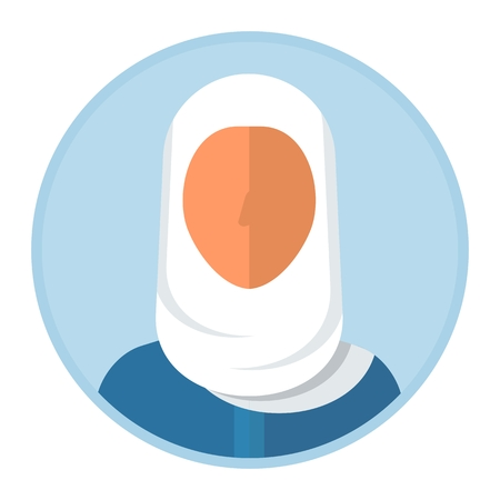 Face of arabian woman in headscarf hijab. Arabic people. Cartoon flat vector illustration. Objects isolated on a white background.