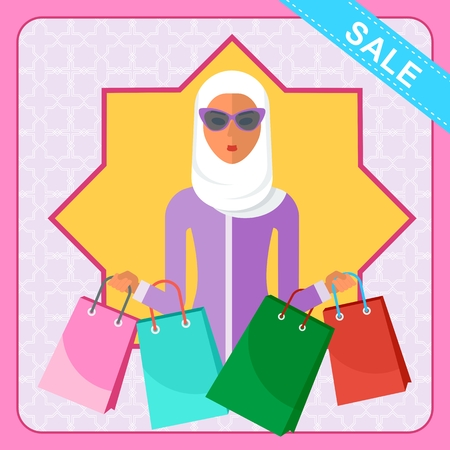 Modern beautiful arabic beautiful woman with shopping bags. Discounts at the mall. Template for advertising, booklets. Cartoon flat vector illustration. Objects isolated on a white background. Illustration