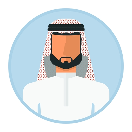 Arabic muslim man image. Template of portret for infographic posters. Cartoon flat vector illustration. Objects isolated on a white background.