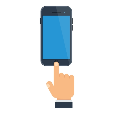 Hand presses the button on the smartphone. Template for advertising brochures, flyers and infographics. Cartoon flat vector illustration. Objects isolated on a white background.