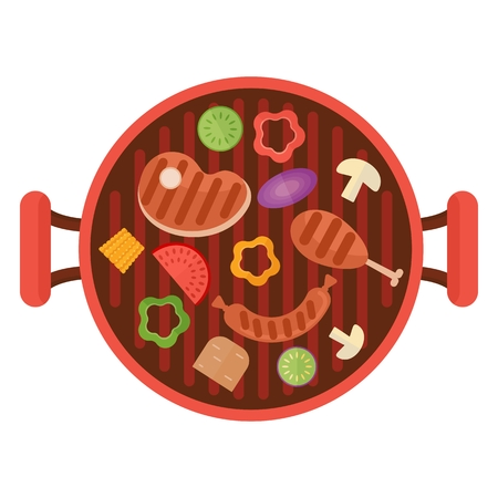 Meat and vegetables grilled. Cartoon flat vector illustration. Objects isolated on a white background.