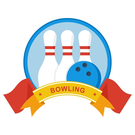 for the bowling tournament. Template for advertising brochures, flyers, posters and infographics. Cartoon flat vector illustration. Objects isolated on a white background. Illustration