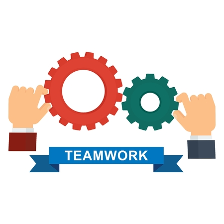Hands driven mechanism. Conceptual image of team work. Elements for sites, brochures, flayers, posters and info graphics. Cartoon flat vector illustration. Objects isolated on a white background. Illustration