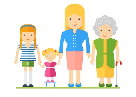 grandmother mother daughter: Generation of women. Family tree, dynasty. Women of all ages. Grandmother and mother, daughter and granddaughter. Flat cartoon vector illustration. Objects isolated on a white background.