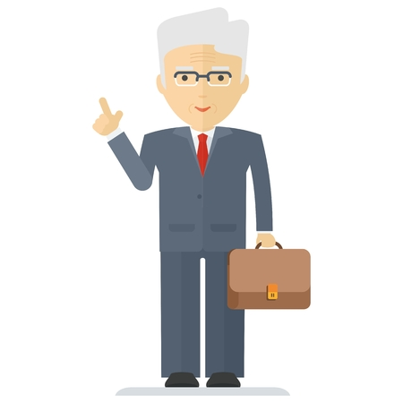 ceo: Vector old businessman with briefcase. Elements for sites, advertising brochures, flayers, posters and info graphics. Flat cartoon vector illustration. Objects isolated on a white background.