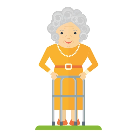 Vector de la mujer mayor con un andador. Las personas mayores, jubilados. ilustración vectorial de dibujos animados plana. Los objetos aislados sobre un fondo blanco. Ilustración de vector