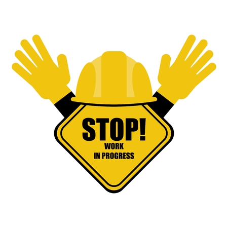 Vector construction image. Stop sign in a construction helmet prohibits the entrance to the site. Flat cartoon illustration. Objects isolated on a white background. Illustration