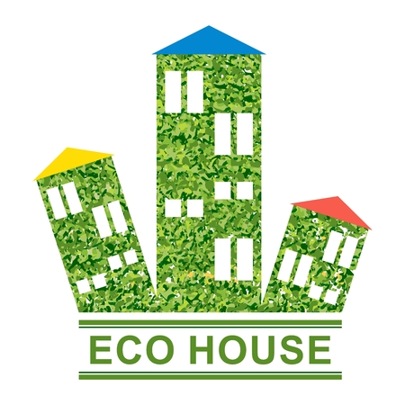 ecology background: Vector ecology concept. Environmentally friendly house, green energy, eco sustainability. Objects isolated on a white background. Flat cartoon illustration.