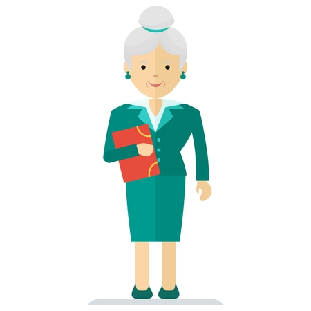 mature business man: Vector old business woman with documents. Elements for sites, advertising brochures, flayers, posters and info graphics. Flat cartoon vector illustration. Objects isolated on a white background. Illustration