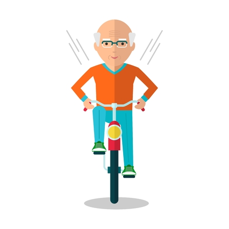 older woman smiling: Vector elderly man on a bicycle. Elderly exercising. Active lifestyle. Flat cartoon vector illustration. Objects isolated on a white background. Illustration