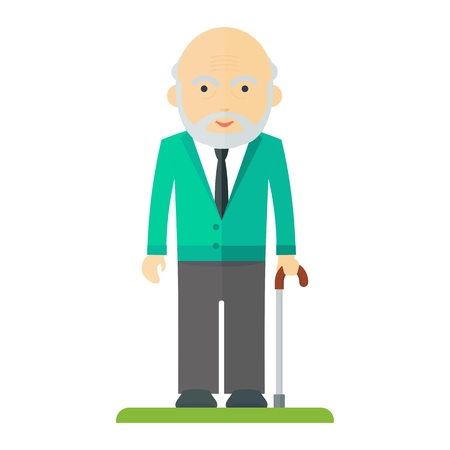 older couple: Vector old man with a stick. Elderly people, pensioner. Flat cartoon vector illustration. Objects isolated on a white background.