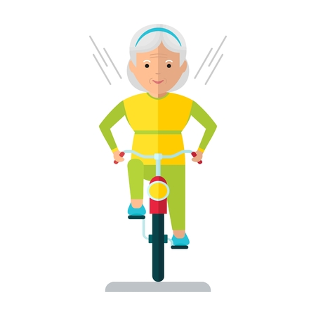 older woman smiling: Vector elderly woman on a bicycle. Elderly exercising. Active lifestyle. Flat cartoon vector illustration. Objects isolated on a white background. Illustration