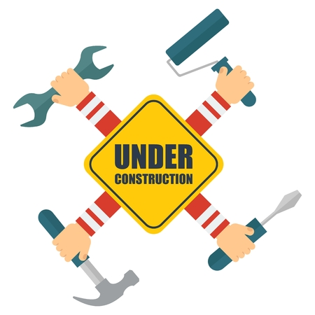 Vector construction sign. Hands holding repair tools, hammer, wrench, and paint roller, screwdriver. Elements for sites, info graphics. Flat cartoon illustration. Objects isolated on white background. Illustration