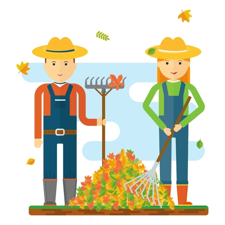 fall harvest: Vector farmer raking autumn leaves. Season fall. Harvest time. Elements for sites, advertising posters and info graphics. Flat cartoon vector illustration. Objects isolated on a white background. Illustration