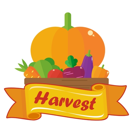 harvest background: Elements for sites, advertising brochures, flayers, posters and info graphics. Flat cartoon vector illustration. Objects isolated on a white background. Illustration