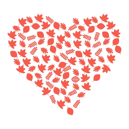 flayers: Vector heart of red autumn leaves. Season fall. Elements for sites, advertising brochures, flayers, posters and info graphics. Flat cartoon vector illustration. Objects isolated on a white background.