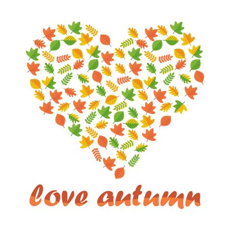 Vector heart of autumn leaves. Season fall. Elements for sites, advertising brochures, flayers, posters and info graphics. Flat cartoon vector illustration. Objects isolated on a white background. Vector Illustration