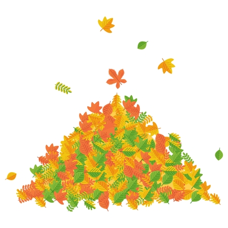 harvest time: Vector pile of autumn leaves. Raking autumn leaves. Season fall. Harvest time. Elements for sites, posters, info graphics. Flat cartoon illustration. Objects isolated on a white background.