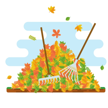 raking: Vector pile of autumn leaves. Raking autumn leaves. Season fall. Harvest time. Elements for sites, posters, info graphics. Flat cartoon illustration. Objects isolated on a white background.
