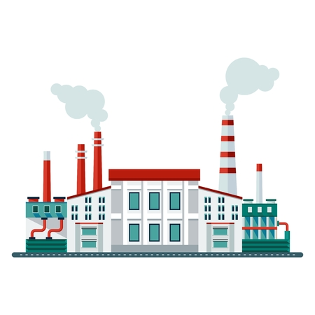 Vector ecology concept industry factory building. Elements for sites, advertising flayers, posters and info graphics. Flat cartoon vector illustration. Objects isolated on a white background. Illustration