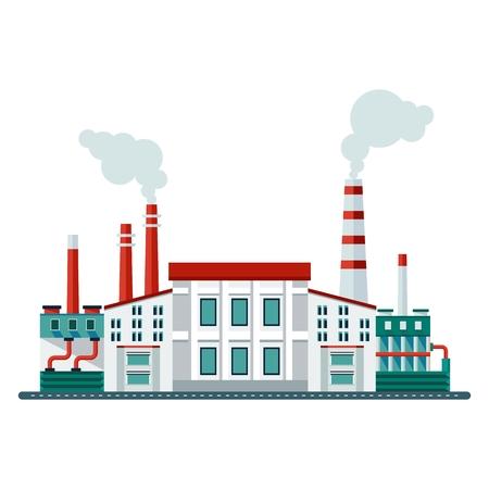 Vector Ökologiekonzept Industrie Fabrikgebäude. Elemente für Websites, Werbung flayers, Poster und Info-Grafiken. Wohnung Cartoon-Vektor-Illustration. Objekte isoliert auf einem weißen Hintergrund.
