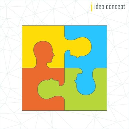 Vector menselijk profiel. Puzzelstukjes icoon. Oplossing concept voor teamwork. Elementen voor marketing, promotie, branding en media. Flat cartoon illustratie. Objecten geïsoleerd op een witte achtergrond.