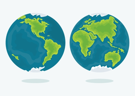 hemispheres: Vector earth. Map of the two hemispheres of the world. Design elements for marketing, advertising, promotion, branding and media. Flat cartoon illustration. Objects isolated on a white background. Illustration