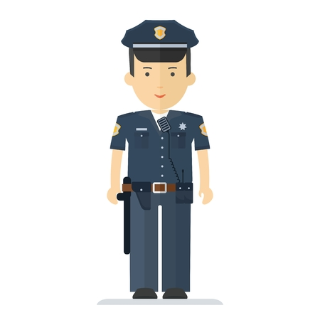 Vector police officer characner. Profession man in uniform. Design elements for marketing, advertising, promotion, branding and media. Flat cartoon illustration. Objects isolated on white background.