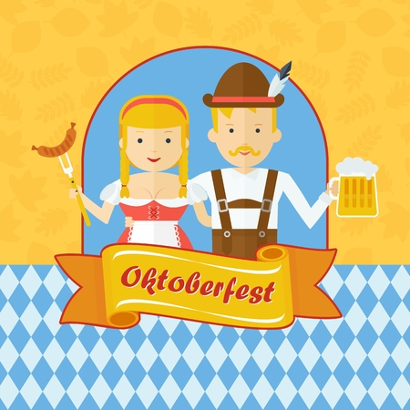 beer stein: Vector Oktoberfest logo. Bavarian man and woman celebrating Oktoberfest. Design elements for marketing, advertising and media. Flat cartoon illustration. Objects isolated on white background. Illustration