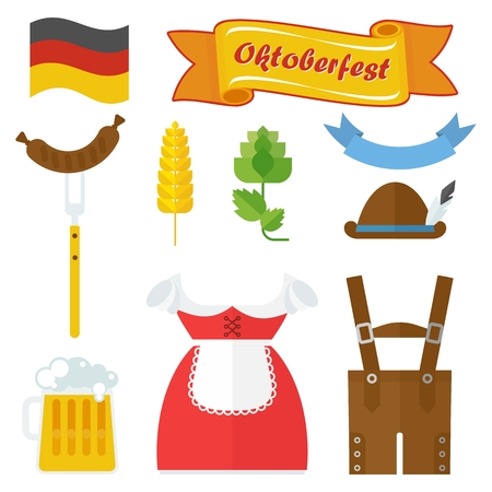 lederhosen: Vector Oktoberfest bavarian icons. Design elements for marketing, advertising, promotion, branding and media. Flat cartoon illustration. Objects isolated on a white background. Illustration