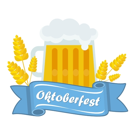 beer stein: Vector Oktoberfest. A mug of German beer, malt. Beer Oktoberfest German festival. Design elements for advertising and media. Flat cartoon illustration. Objects isolated on white background.
